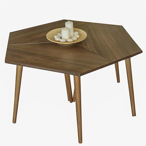 طاولة قهوة موديل سيفا بني صناعة خشبية بأرجل من خشب الزان