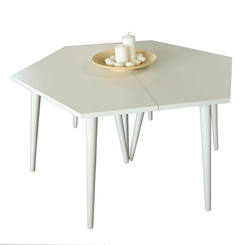 طاولة قهوة موديل سيفا أبيض صناعة خشبية بأرجل من خشب الزان