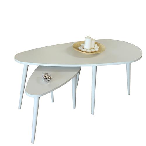 طاولة قهوة موديل تروي أبيض عدد 2 صناعة خشبية بأرجل من خشب الزان