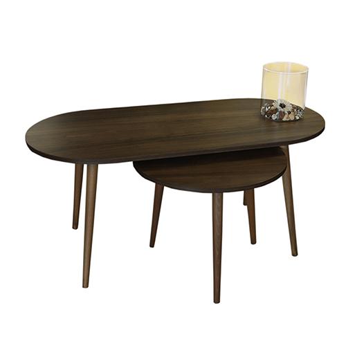 طاولة قهوة موديل أسوس بني عدد 2 صناعة خشبية بأرجل من خشب الزان