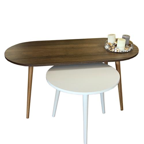 طاولة قهوة عدد 2 موديل أسوس لون أبيض وبني صناعة خشبية بأرجل من خشب الزان