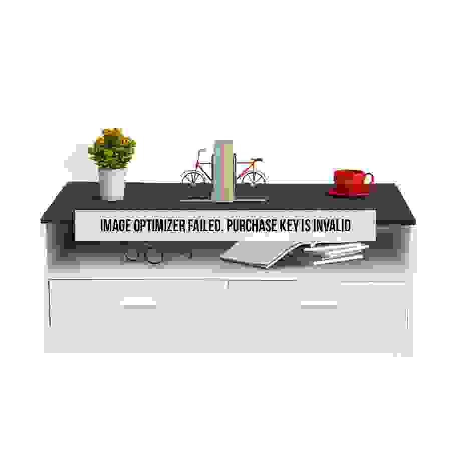 طاولة ضيافة مع درجين ووحدة تخزين موديل مايوت صناعة خشبية لون أبيض وأسود