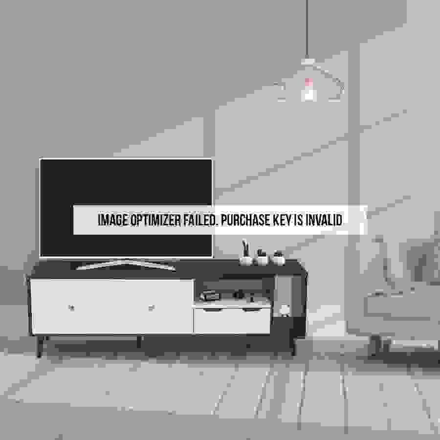 ديكور طاولة تلفاز خشبية أسود وأبيض
