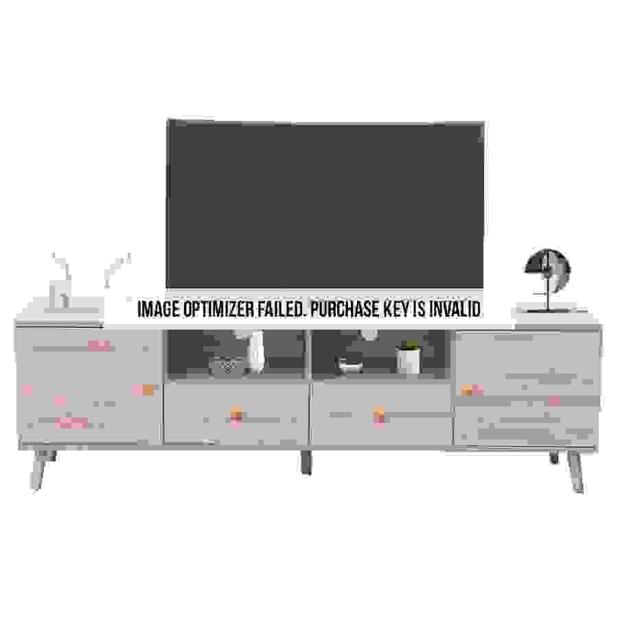 طاولة تلفاز بدرجين ووحدات تخزين موديل مادلين صناعة خشبية لون خشبي