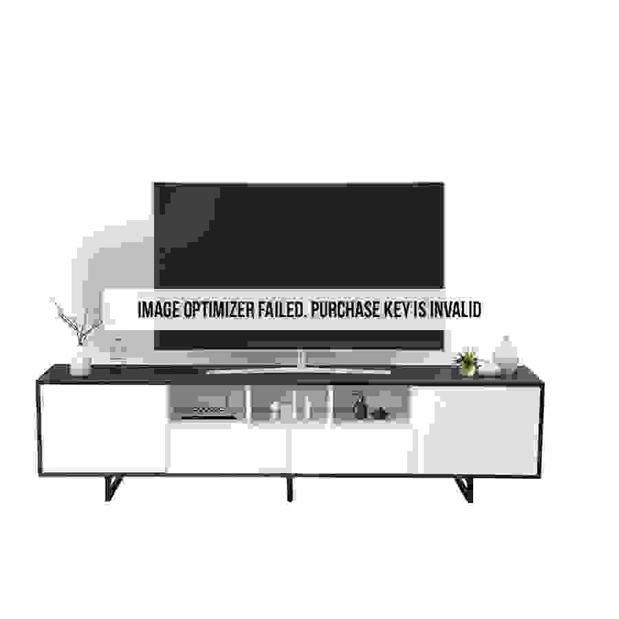 طاولة تلفاز بدرجين ووحدات تخزين موديل كان صناعة خشبية لون أبيض وأسود