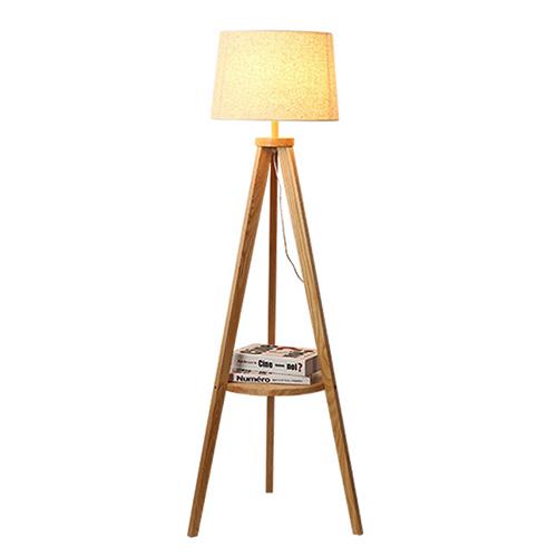 أباجورة أرضية بطاولة صغيرة موديل سميت قاعدة خشبية وغطاء من الكتان