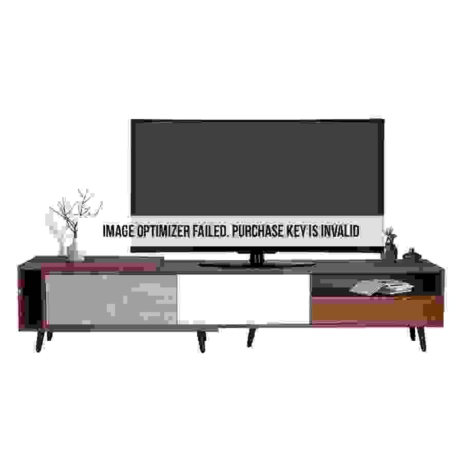 طاولة تلفاز موديل فايف صناعة خشبية لون بني وأبيض ورمادي