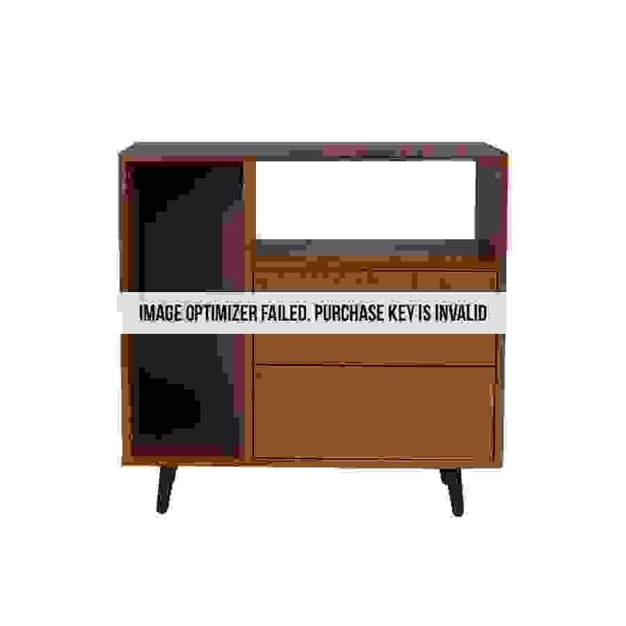خزانة جانبية موديل فايف بدرجين ووحدات تخزين لون بني