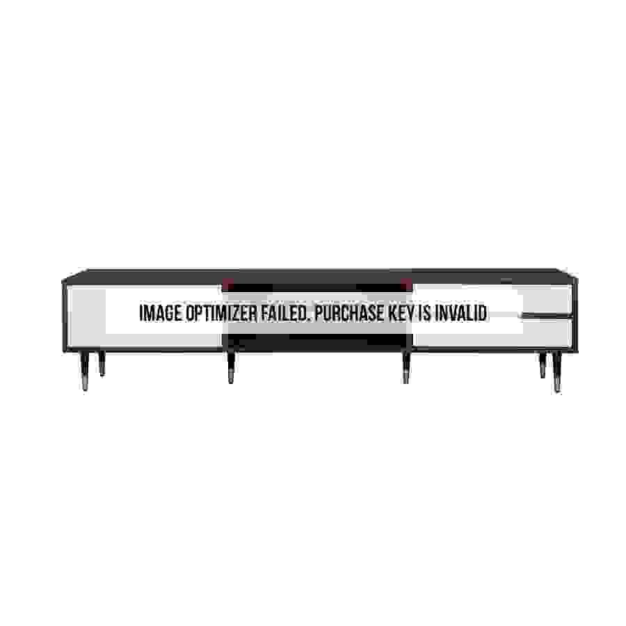 طاولة تلفاز موديل ناين صناعة خشبية لون بني وأبيض بأرجل حديدية