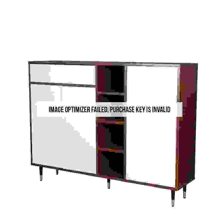 خزانة متعددة الأغراض موديل ناين بدرج ووحدات تخزين لون بني وأبيض