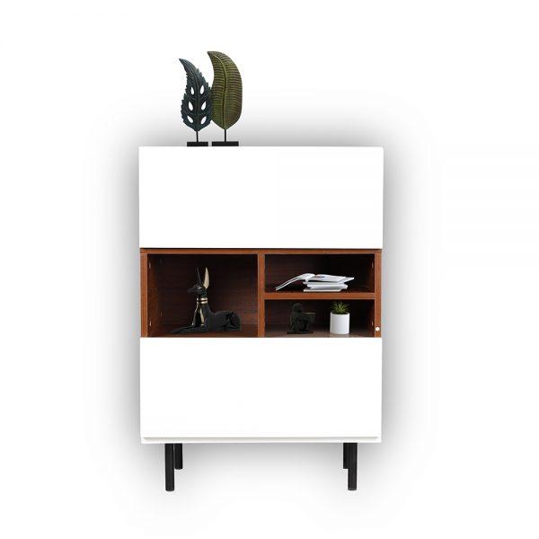 خزانة جانبية موديل فورتي بدرجين سحاب ووحدات تخزين لون بني وأبيض