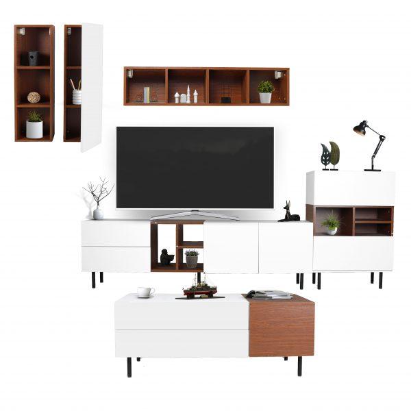 طقم موديل فورتي طاولة تلفاز بأرفف خشبية وطاولة قهوة وخزانة جانبية صناعة خشبية لون بني وأبيض
