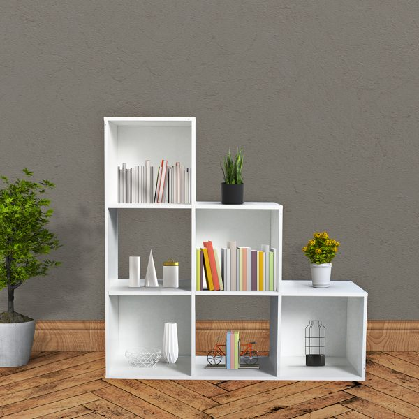 ديكور خزانة مفتوحة للكتب موديل ريتشي بشكل مدرج ثلاثي تحتوي تسعة أرفف