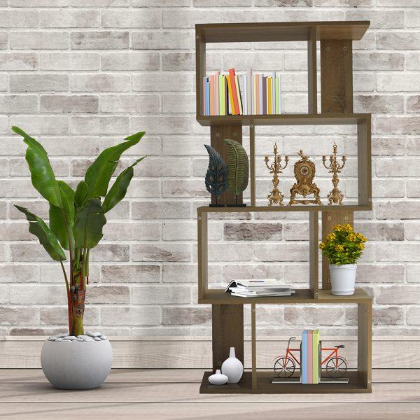 ديكور خزانة مفتوحة للكتب موديل لارس شكل جميل عدد خمسة أرفف لون بني