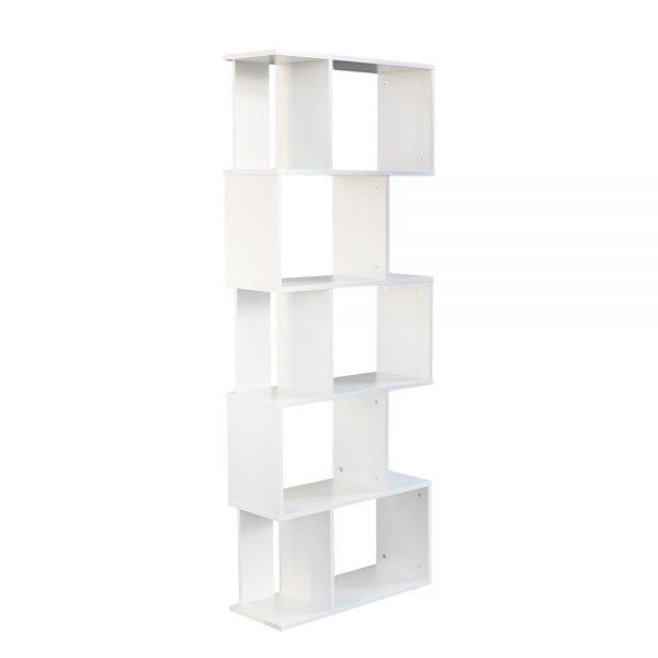 خزانة مفتوحة للكتب موديل بيرس شكل جميل عدد ستة أرفف لون أبيض