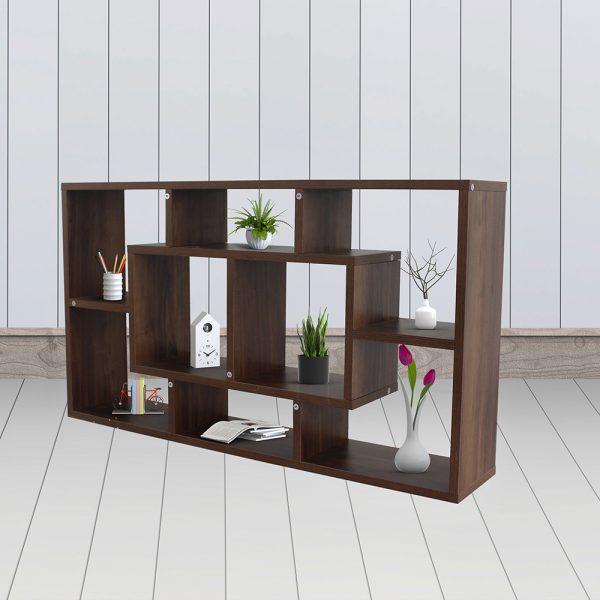 ديكور خزانة مفتوحة للكتب موديل سالا بـ 8 وحدات تخزين و11 رف خشبي لون بني