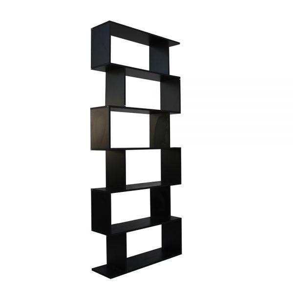 خزانة مفتوحة للكتب موديل أوريون مصنوعة من الخشب شكل مموج