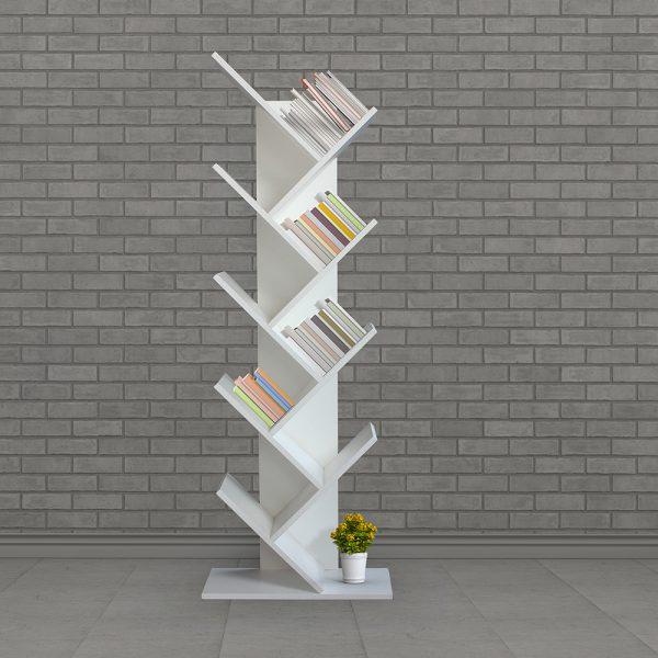 ديكور خزانة مفتوحة للكتب موديل مومينت مصنوعة من الخشب بشكل حرفT المائل