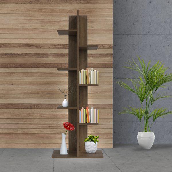 ديكور خزانة مفتوحة للكتب موديل ريمو مصنوعة من الخشب عدد ثمانية أرفف لون بني