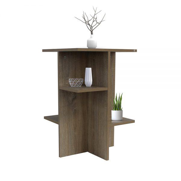 طاولة تخزين جانبية موديل نيرا بـ 5 أرفف خشبية لون بني