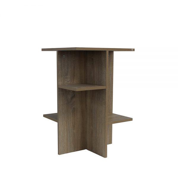 طاولات تخزين بأرفف لون بني