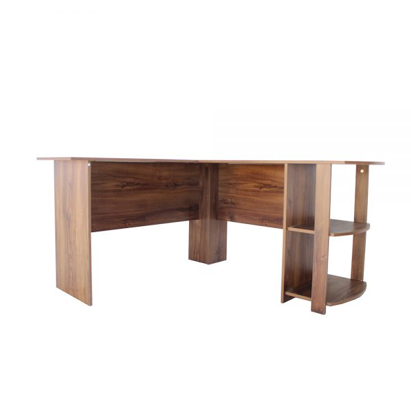 طاولة مكتبية موديل بولن شكل زاوية قائمة مدموجة بطاولة جانبية من 3أرفف