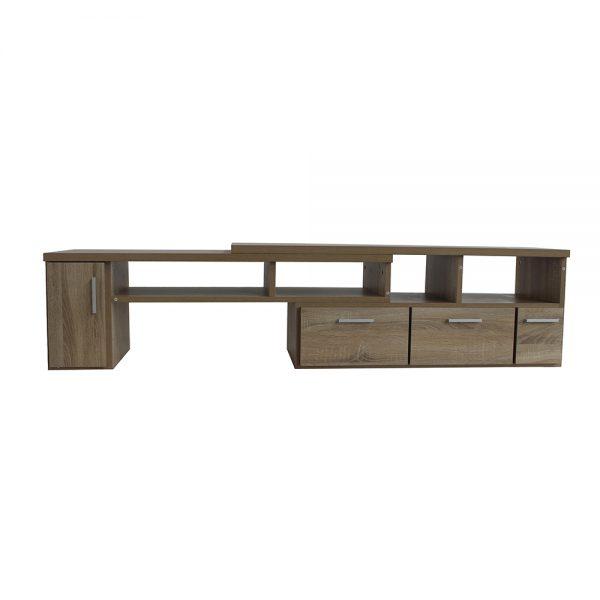 طاولة تلفاز موديل نيتوريال تكبر وتصغر ب 3 أدراج وخزانة بباب