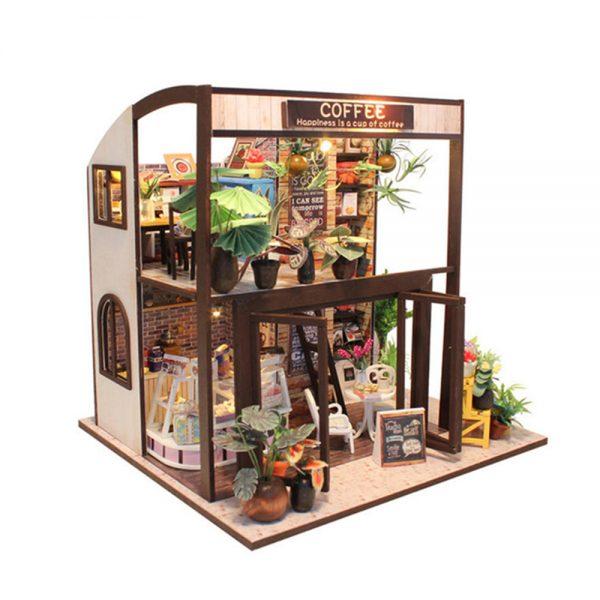 لعبة موديل شوب كفي محاكاة تركيب متجر قهوة جميل بإضاءة ليد