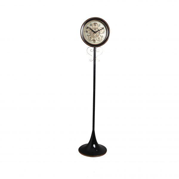 ساعة أرضية موديل ويك ايند شكل دائري صناعة معدنية