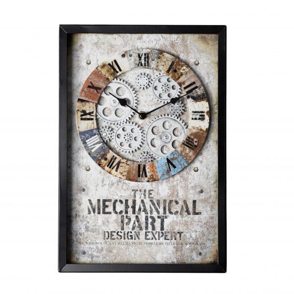 ساعة حائط أنتيكة موديل ناو شكل مستطيل صناعة معدنية