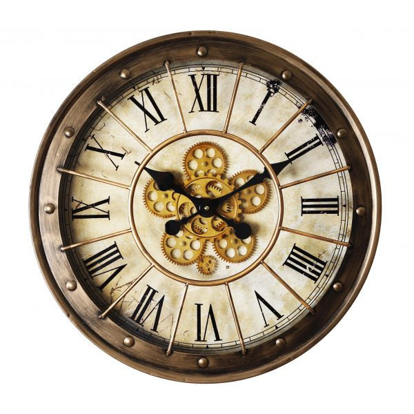 ساعة طاولة أنتيكة موديل نيفر شكل دائري صناعة معدنية