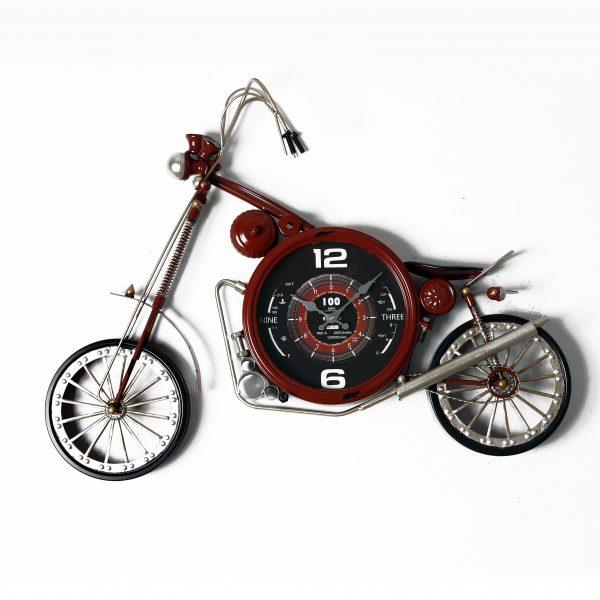 ساعة حائط أنتيكة موديل دومينقو شكل دراجة نارية صناعة معدنية