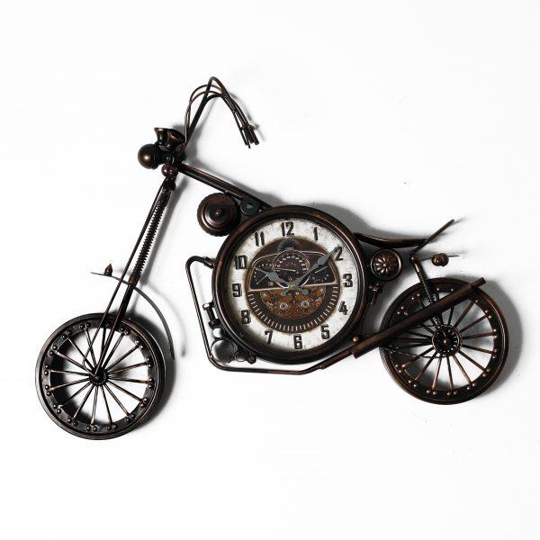 ساعة حائط أنتيكة موديل مارتس شكل دراجة نارية صناعة معدنية