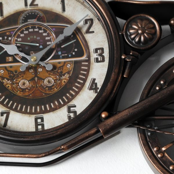 ساعة شكل دراجة نارية لون برونزي