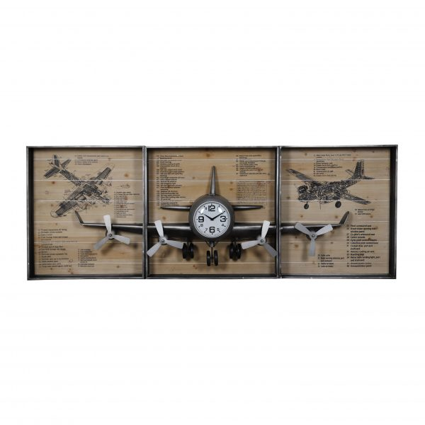 ساعة حائط أنتيكة 3 قطع تتجمع عالجدار شكل مستطيل صناعة معدنية