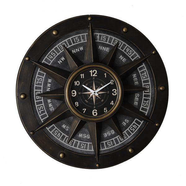 ساعة حائط أنتيكة موديل كومباس شكل البوصلة صناعة معدنية