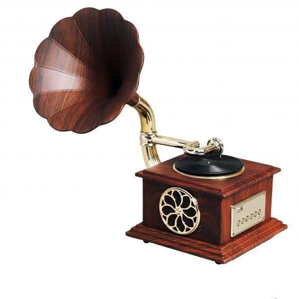 مشغل وسائط صوتية يعمل بالكهرباء شكل جرامافون أنتيكة لون بني غامق