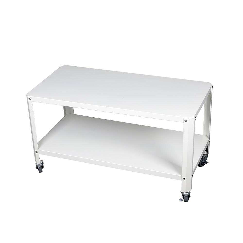طاولة متعددة الاستخدام موديل لوساكا من طبقتين لون أبيض صناعة معدنية
