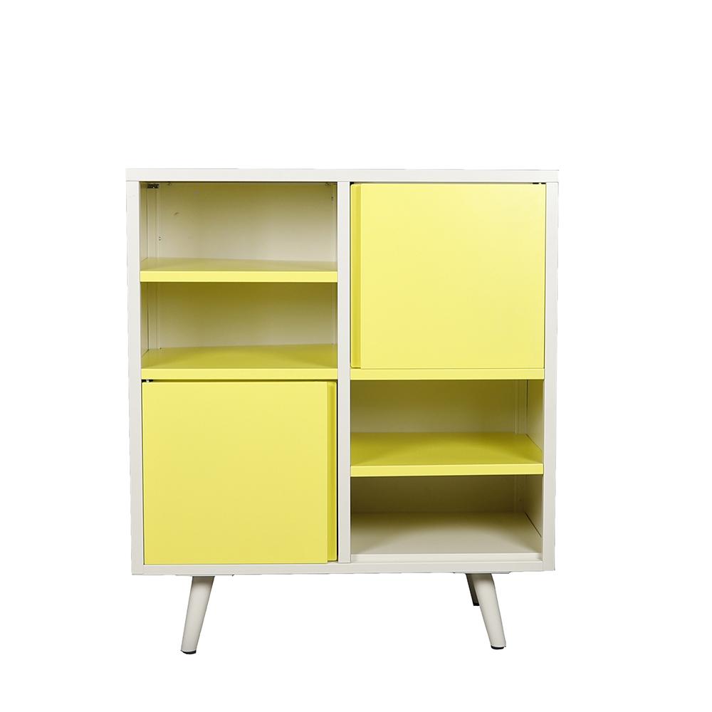 خزانة جانبية موديل لاكر بأرفف متعددة لون بيج وأصفر صناعة معدنية