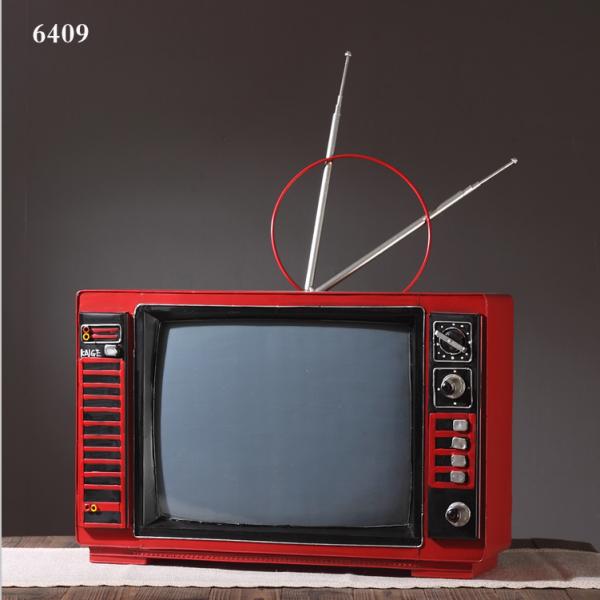 تحفة أنتيكة التلفاز الأحمر طراز قديم للديكور المنزلي والمكتبي