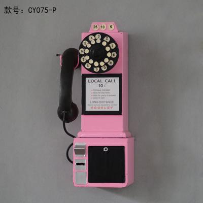 تحفة أنتيكة شكل الهاتف الكبير الطراز القديم لون وردي للديكور