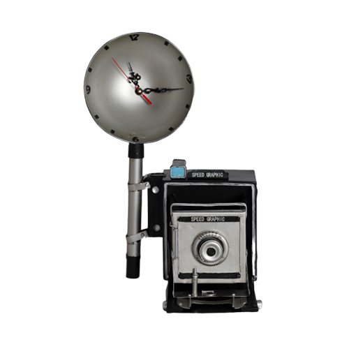 تحفة أنتيكة الكاميرا والساعة الطراز القديم للديكور المنزلي والمكتبي