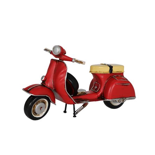 تحفة أنتيكة دراجة نارية لون أحمر طراز قديم للديكور المنزلي والمكتبي