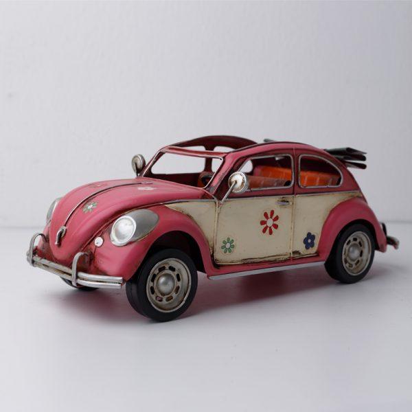 تحفة أنتيكة السيارة الوردية طراز قديم للديكور المنزلي والمكتبي