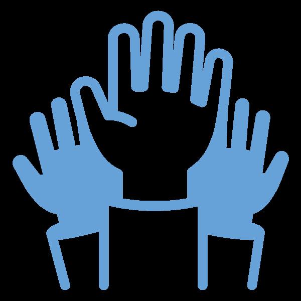 three hands raised to volunteer
