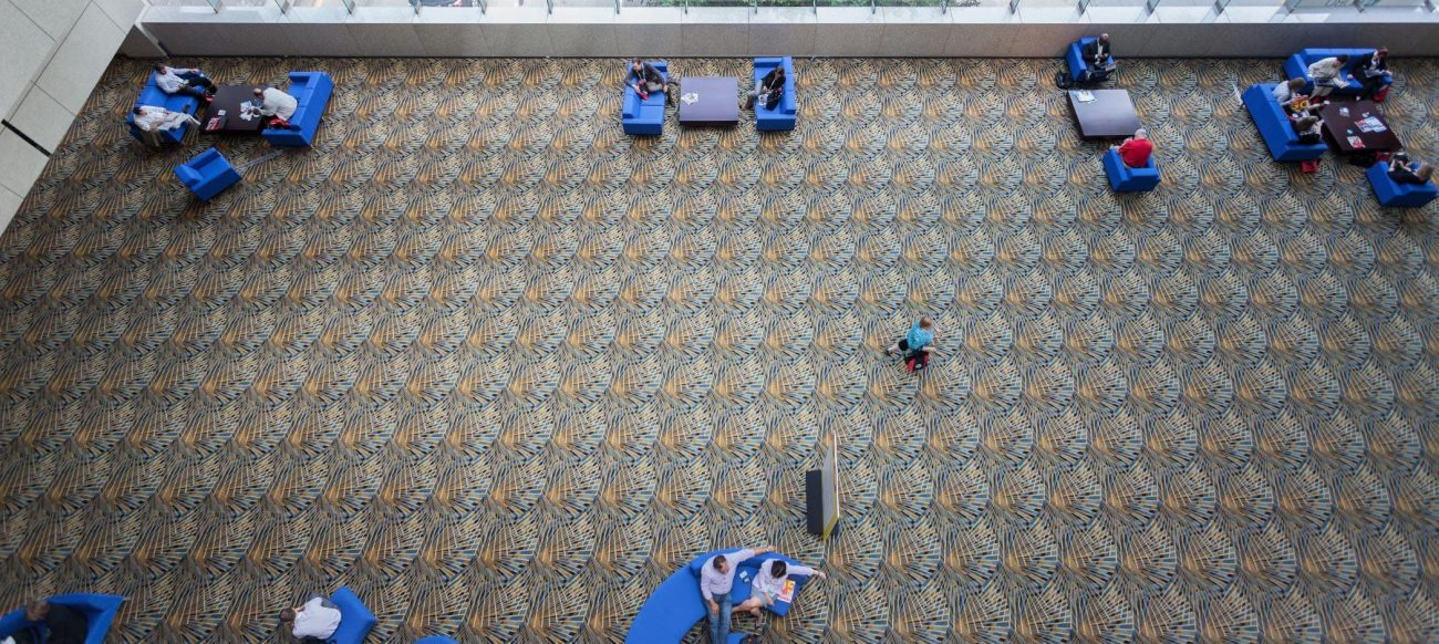 Cobo Center lobby charging stations aerial