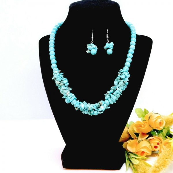 HANDCRAFTED TURQUOISE GEMSTONE NECKLACE AND EARRINGS SET