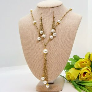 HANDCRAFTED DROP BEADED TASSEL NECKLACE WITH EARRING SET
