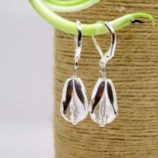 Crystal White Tear Drop Earring - Viya Crafts