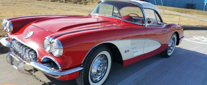 """1959 Chevy Corvette  Roman Red/red  2×4's  Powerglide  """"SOLD"""""""